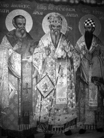 Saint_Athanasius,_John_Eleimon_and_Cyril_of_Alexandria_Icon_by_Veniamin_of_Galatista,_1833