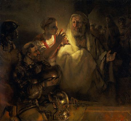 Rembrandt_The-denial-of-peter-1660